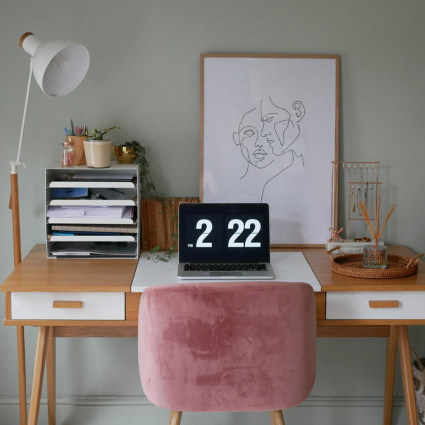 Home office desk and laptop set-up