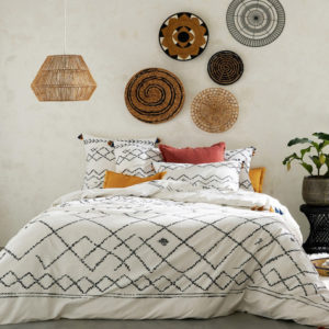 berber print white and black cotton duvet cover