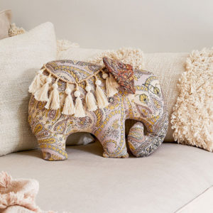 elephants paisley throw cushion