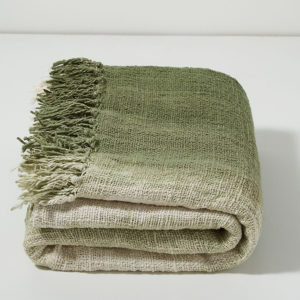ombre green linen throw