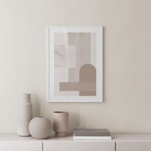 Geometric shapes on framed print hung on wall