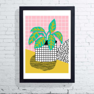 brightly coloured potted plant print
