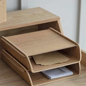 Stacked beech wood desk organiser