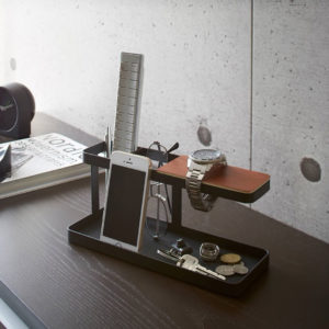 black and walnut tower desk organiser