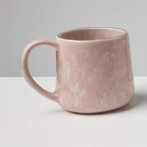 large pink glazed ceramic mug