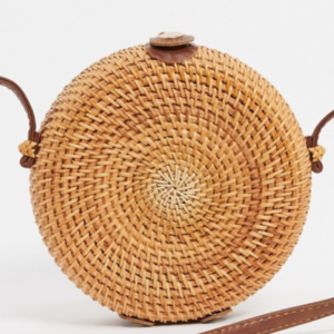 Round vintage style rattan cross body bag with leather strap