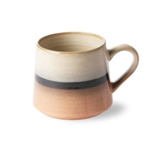 ceramic mug with ombre glaze in earth tones