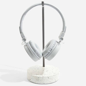 white terrazzo base and marble arm headphone stand