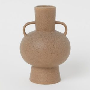 taupe stoneware vase with two small handles
