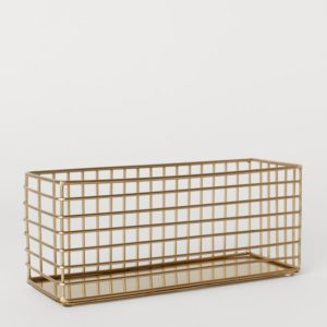 gold coloured wire organiser basket