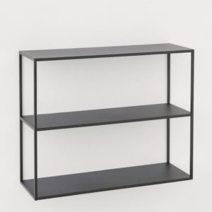minimalist matte black rectangular shelf unit
