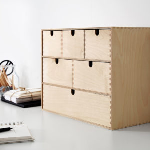 plywood mini desktop chest of drawers organiser